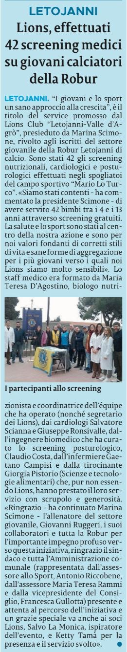 Letojanni Lions screening medici