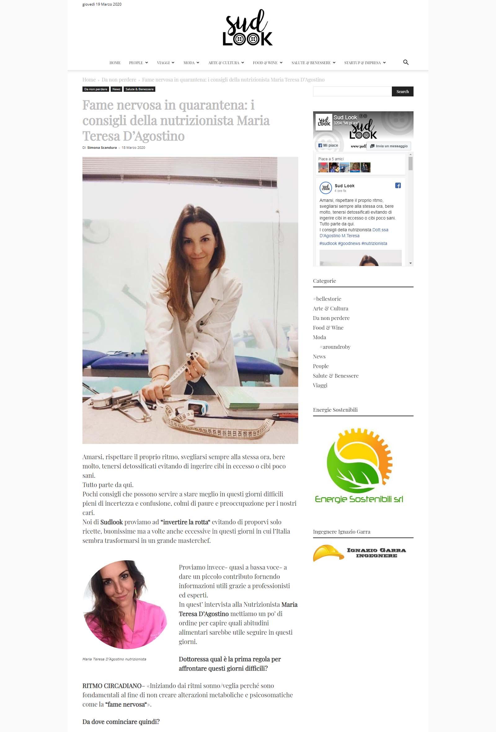 Fame nervosa in quarantena i consigli della nutrizionista Maria Teresa D'Agostino